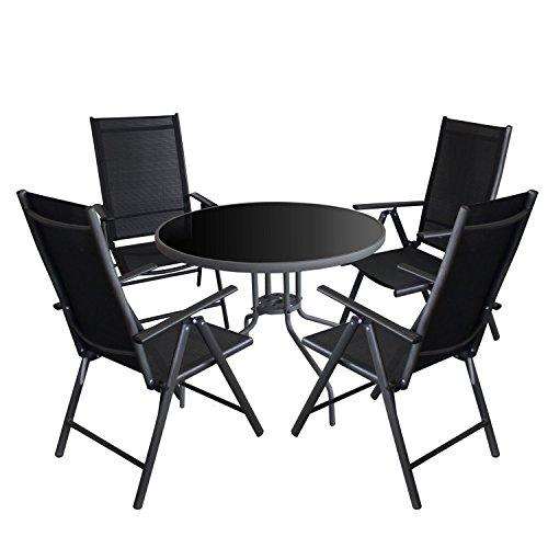 5tlg. Gartenmöbel Set Glastisch Ø90cm + 4x Hochlehner, 2x2 Textilenbespannung, Rückenlehne 7-fach verstellbarer / Gartengarnitur Gartengarnitur Bistro Balkonmöbel