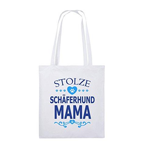 Comedy Bags - Stolze Schäferhund Mama - HERZ - Jutebeutel - lange Henkel - 38x42cm - Farbe: Schwarz / Weiss-Neongrün Weiss / Royalblau-Hellblau