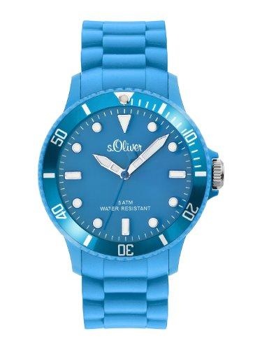 s.Oliver SO-2319-PQ - Reloj para caballero de silicona Resistente al agua azul