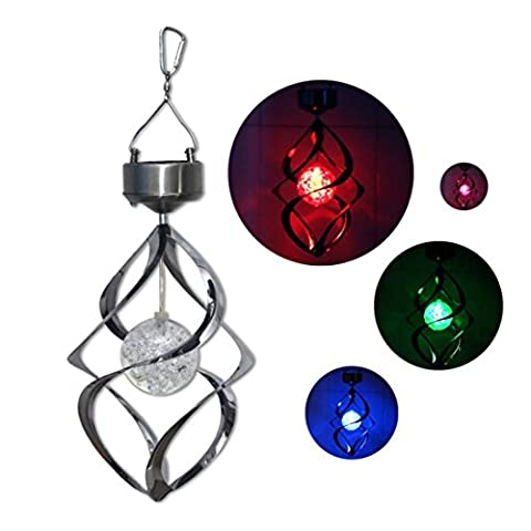 LUI SUI 7 Color Changing Solar Power Stainless Wind Chime