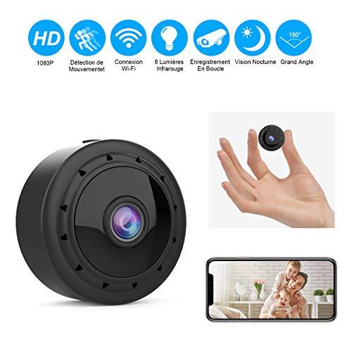 Mini Camera Espion WiFi, Full HD 1080P Caméra Cachée Spy sans Fil avec Vision Nocturne et...
