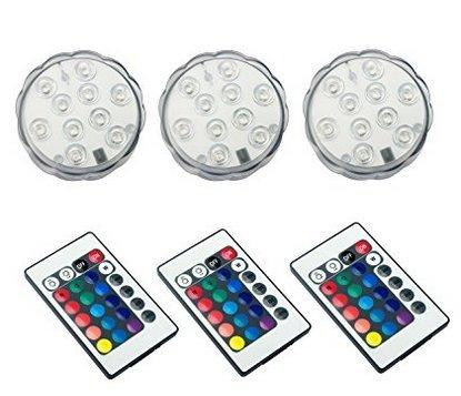 ALED LIGHT® Multicolor RGB 10 LEDS unterwasser Wasserdicht Lampe Leuchte Deko Lichter Schwimmlichter Beleuchtung f. Water Garden,Aquarium, Badewanne Pool und Spa etc (3pcs)