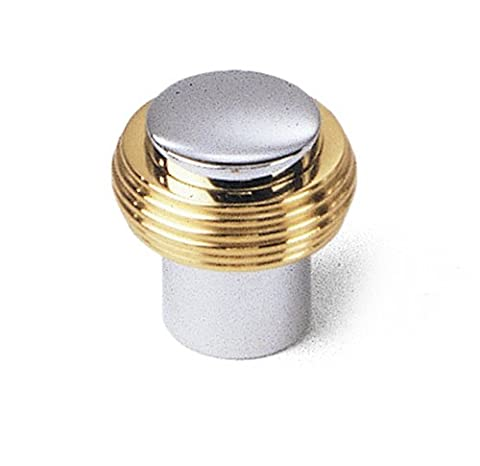 Laurey 40526 Gleaming Solid Brass 1-1/4-Inch Diameter Knob, Chrome with Brass Ends