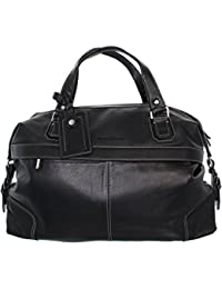 Pellevera Angelo italien en cuir grande holdall classique, bagage à main (marron foncé)