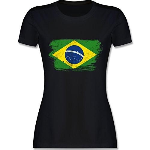 Fußball-Weltmeisterschaft 2018 - Brasilien Vintage - L - Schwarz - L191 - Damen T-Shirt Rundhals