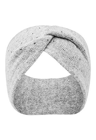 HALLHUBER Geknotetes Strick Haarband mit Nieten hell silber