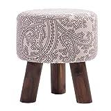 DPPAN Fußhocker Ottoman, Sitzhocker rund, Sitzhocker für Schlafsofa, 3 Beine aus Massivholz und robust 30x33CM A