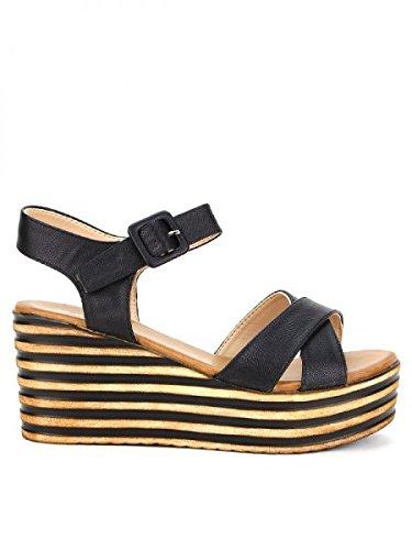 Cendriyon, Compensée Noire STUDIO H MODE Chaussures Femme Noir