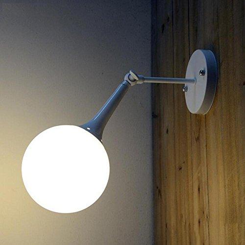 DENG Appliques Moderne Industriel LED Ajustable Culbuteurs Verre E27 Abat-Jour Créatif Applique Éclairage de Chevet Fixation