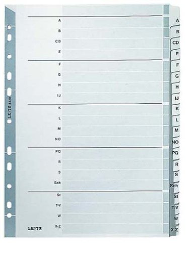 Leitz 43280000 Kartonregister A-Z, A4, Karton, 20 Blatt, grau