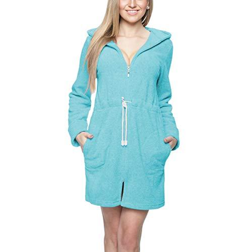 Aquarti Damen Morgenmantel mit Kapuze und Reißverschluss, Farbe: Türkis, Größe: S
