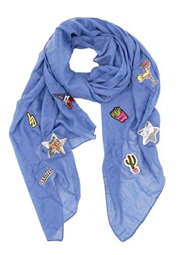 Damen Schal Tuch Stola mit Patches Metallic Pailletten Stern Army Parfüm Auge Anker silber gold (8459) (denim blau) (Kreuzfahrt-patch)