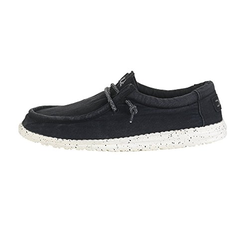 Dude Shoes Männer Wally Gewaschen Schwarz UK11/EU45 - Leder-optionen-beenden