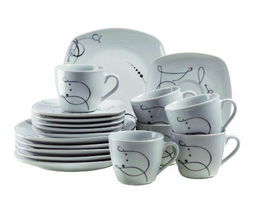 MÄSER Serie Chanson, Kaffeeservice 18-teilig, Kaffeetassen und Dessertteller für 6 Personen