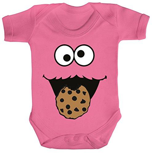 Fasching Karneval Strampler Bio Baumwoll Baby Body kurzarm Jungen Mädchen Blue Monster Premium, Größe: 12 - 18 Monate,Bubble Gum Pink (Pink Gum Baumwolle Bubble)