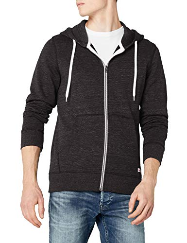 JACK & JONES Herren JORSTORM Sweat Zip Hood Basic NOOS, Grau (Dark Grey Melange Fit:reg), Large (L)