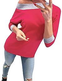 Yvelands Mujeres Sexy Casual Solid Manga Larga Pullover Blusa Camisas Sudadera Tops