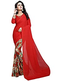 Desi Hault Printed Georgette Saree Daily Wear With Blouse Piece For Women In Red Color