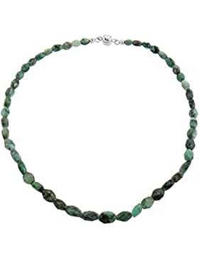 Harry Ivens Damen-Collier Halskette Sterling-Silber 925 rhodiniert Smaragd Magnetschließe