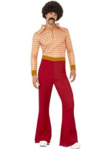 Abba Kostüm Männer - Luxuspiraten - Herren Männer authentisches 70er Jahre Kostüm mit hochgezogener Hose und Hemd im Flower Power Tapeten-Stil, perfekt für Karneval, Fasching und Fastnacht, L, Rot