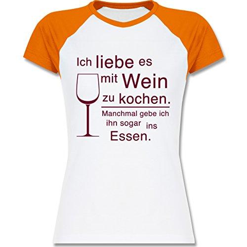 c6dca8ca2c8c39 Shirtracer Küche - Ich Liebe ES mit Wein zu Kochen - Zweifarbiges  Baseballshirt Raglan T