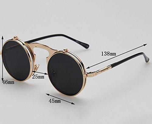 Flashing- Lustige Retro Runde Sonnenbrille Metall Klapp-Sonnenbrille Männliche Und Weibliche Sonnenbrille ( Farbe : #2 )
