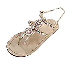 SOMESUN Sandali da Donna Moda Scarpe da Donna in Pelle Artificiale Estate  Brillante Strass Catena Sandali c54dd06658a