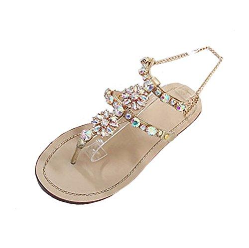 Somesun sandali da donna moda scarpe da donna in pelle artificiale estate brillante strass catena sandali da massaggio morbido t-strap scarpe comode (eu38, oro)