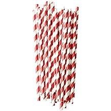 Diseño de papel de paja de rayas De colour rojo (Pack of 25) L: 20 cm de diámetro: 0.5 cm