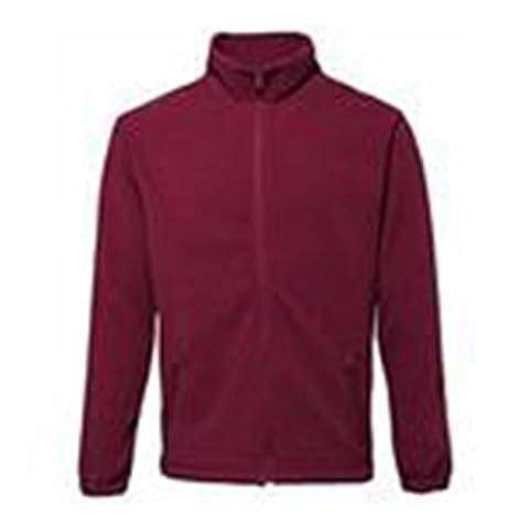 Fleece Jacket Full Zip with Cadet Collar Warm and Comfortable 2786 (Large, Burgundy)