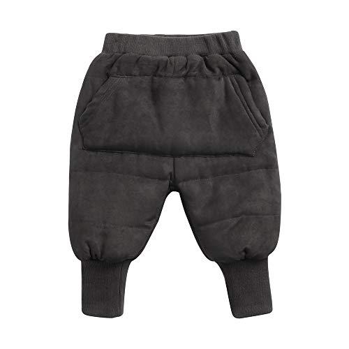 Sanlutoz Unisexe Bébé Épaissir Pantalons Décontractée Hiver Bébé Pantalon des Gamins Un Pantalon avec Poche (12-18 mois/80cm, KPW8142-DGY)