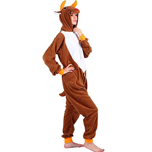 Kaninchen Brown Kostüm - GUAN Karikaturtierweihnachtsrotwildoveralls Homewear Bequeme niedliche Pyjamas Halloween