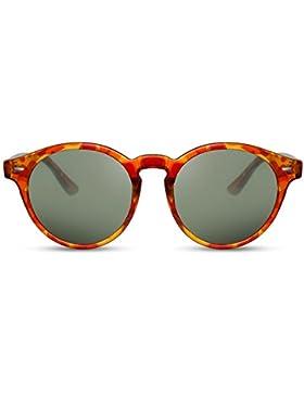 Cheapass Gafas de Sol Negro Marrón Retro Redondos Espejados Mujer Hombre