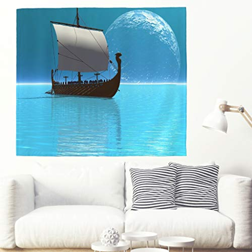 Wikinger Boot Blauer Mond Sea Wandteppiche Tapestry Psychedelisch Tapisserie Wandtuch Bohemian Wall...