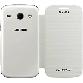 Samsung Galaxy Core I8262 /I8260 Flip Flap Book Cover Case Battery Door Replaceable (White)
