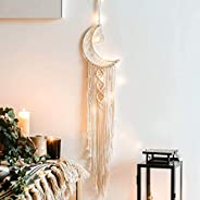 Dremisland Macrame Woven Wall Hanging Moon Dream Catcher- Boho Chic Bohemian Home Decor Wall Art Decor Beautif