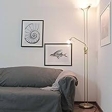 Bis Zu 230 Watt 230V Aus Metall Glas Mat Dimmer Stehleuchte Mit Lesearm Deckenfluter Halogen Warmweisses Licht Schlafzimmer Wohnzimmer Lampe