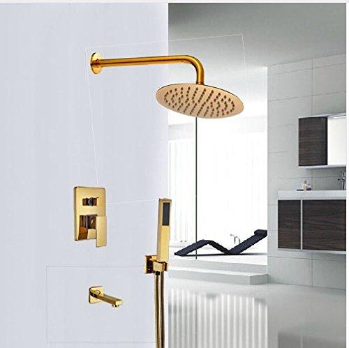 Gowe Luxus 3-Wege-Outlet Messing Goldenen polnischen Dusche Set Badezimmer Wand montiert Dusche Einheiten Einhebelmischer -