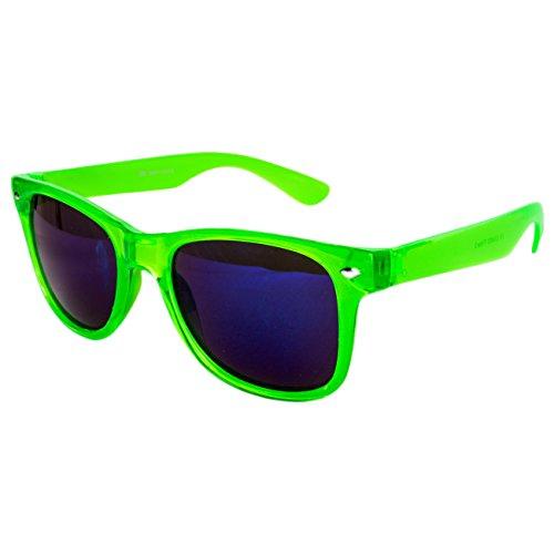 Ciffre Sonnenbrille Nerdbrille Nerd Retro Look Brille Pilotenbrille Vintage Look - ca. 80 verschiedene Modelle Neon Grün Transparent Blau Glas