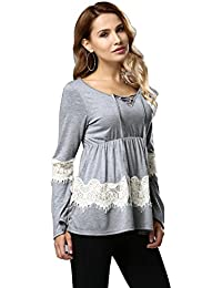 Womdee Women's Long Sleeve V Neck Lace Stitching Loose Casual T Shirt Tops