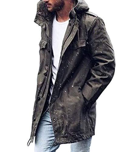 Huateng Men Casual Kapuzenjacke mit Reißverschluss-Cardigan N 3b Parka