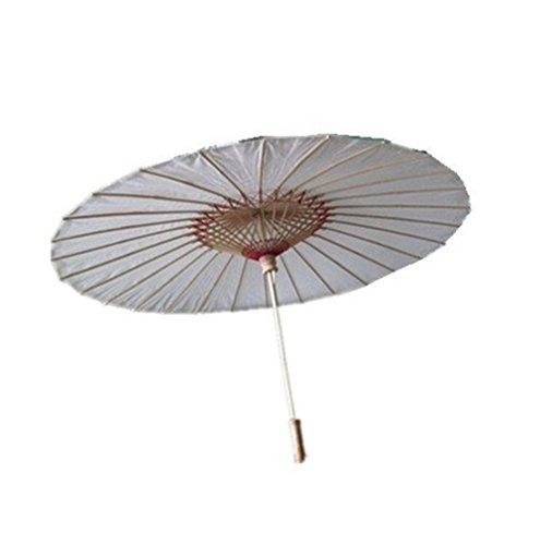 m natur Nylon Stoff Bambus Regenschirm weiß für Erwachsene (Orientalische Hochzeit)