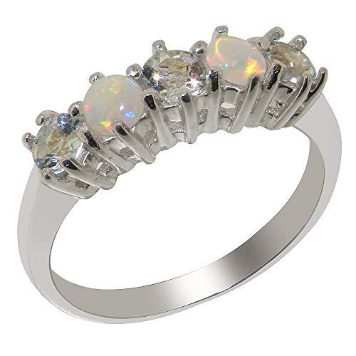 Damen Ring Solide Sterling Silber 925 mit Aquamarin und Opal - Größe 50 (15.9) - Verfügbare Größen : 47 bis 68 (Antik Aquamarin Ringe)