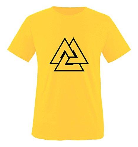 Comedy Shirts - Valhalla Symbol - Herren T-Shirt - Gelb / Schwarz Gr. M (T-shirt Gelb Symbol)