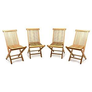 Divero GL05036_SL4 4er Set Gartenstuhl Balkonstuhl Hochlehner Teakholz Stuhl für Terrasse Camping kompakt klappbar…