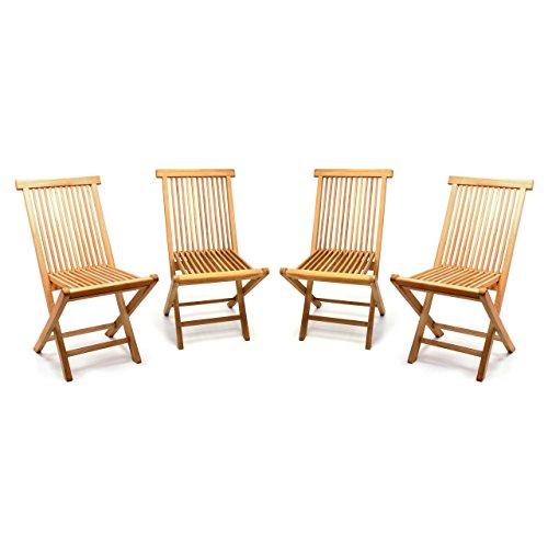 Divero GL05036_SL4 4er Set Gartenstuhl Balkonstuhl Hochlehner Teakholz Stuhl für Terrasse Camping kompakt klappbar behandelt Natur-braun - Indoor-teak-bank