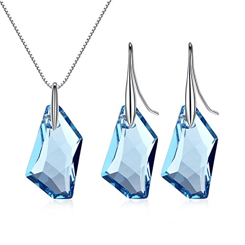 GoSparking Aquamarine di cristallo blu Sterling Silver Ciondolo orecchini set con il cristallo austriaco per le donne