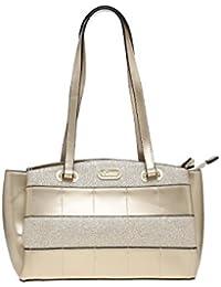 ESBEDA Gold Checkered Pu Synthetic Material Handbag For Women