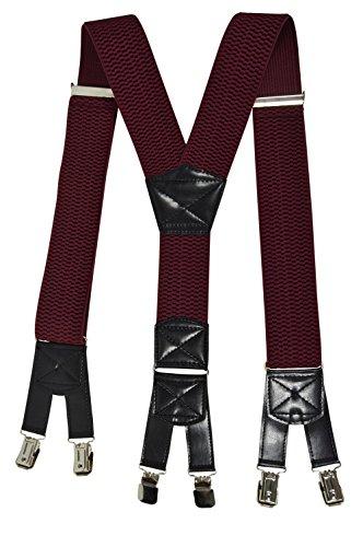 Olata Bretelles XXL entièrement réglable Extra Fort avec 6 Clips, Tissu épais - 5cm. Bourgogne Rouge