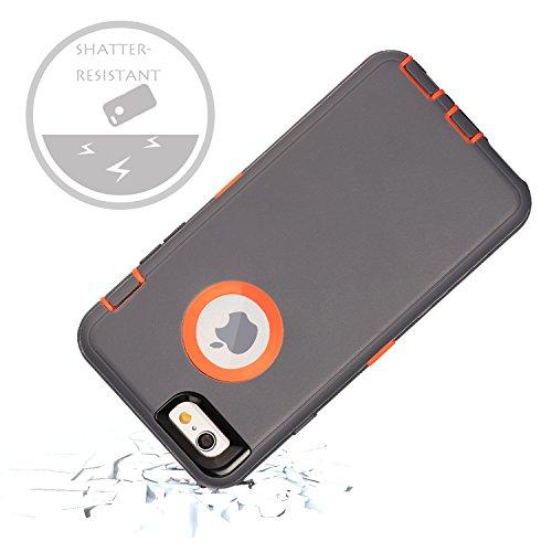 iPhone 6S Schutzhülle & # xff1a; fogeek Premium Qualität 4Schicht integrierter Displayschutzfolie, staubdicht und stoßfest mit Gürtelclip Holster und ausklappbarem Ständer für iPhone 6/iPhone 6S 11, Gray/Orange